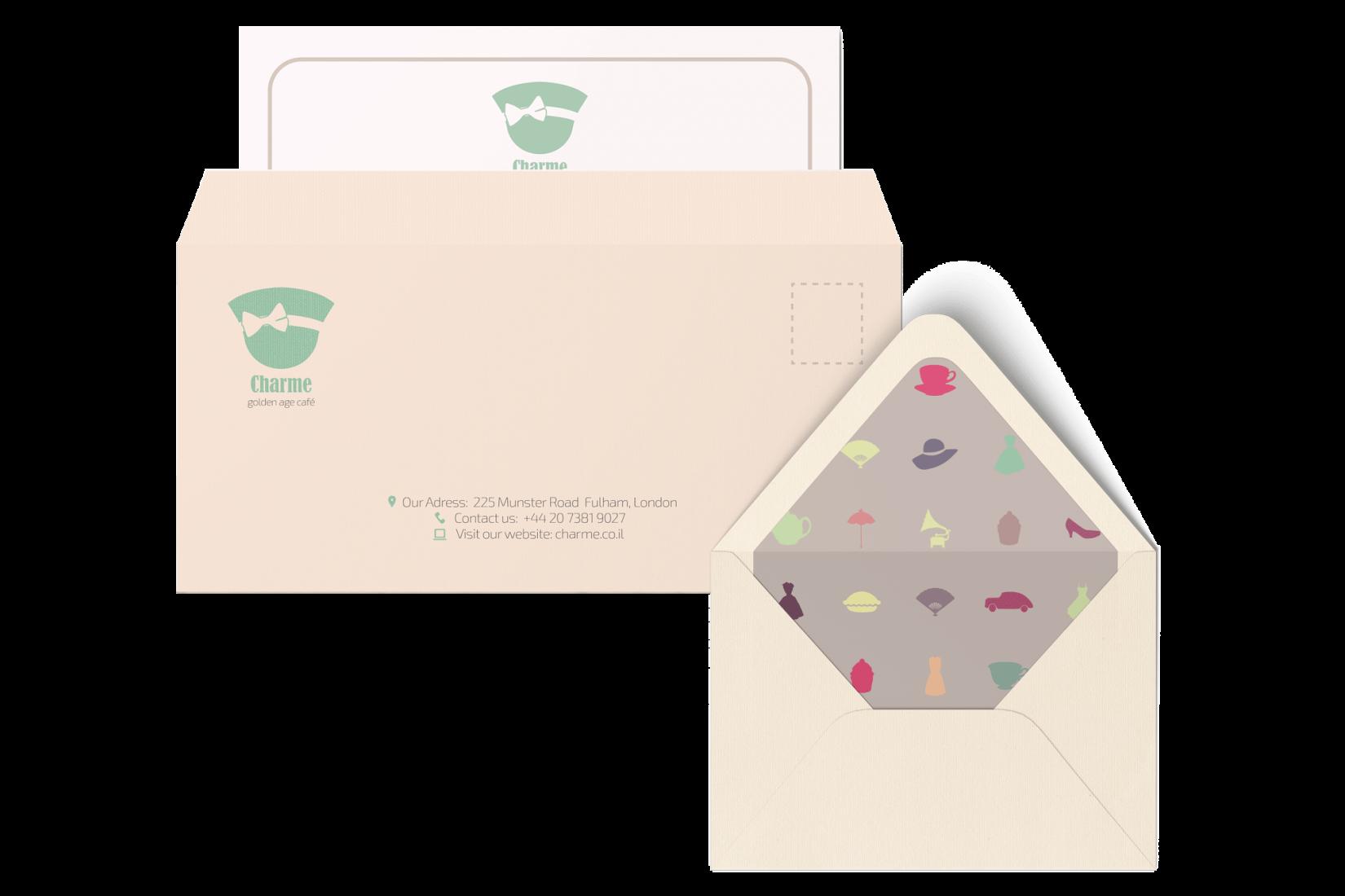 עיצוב בחינוך עיצוב גרפי CHARME מיתוג בית קפה מעטפה תיק עבודות קטיה פובזנר