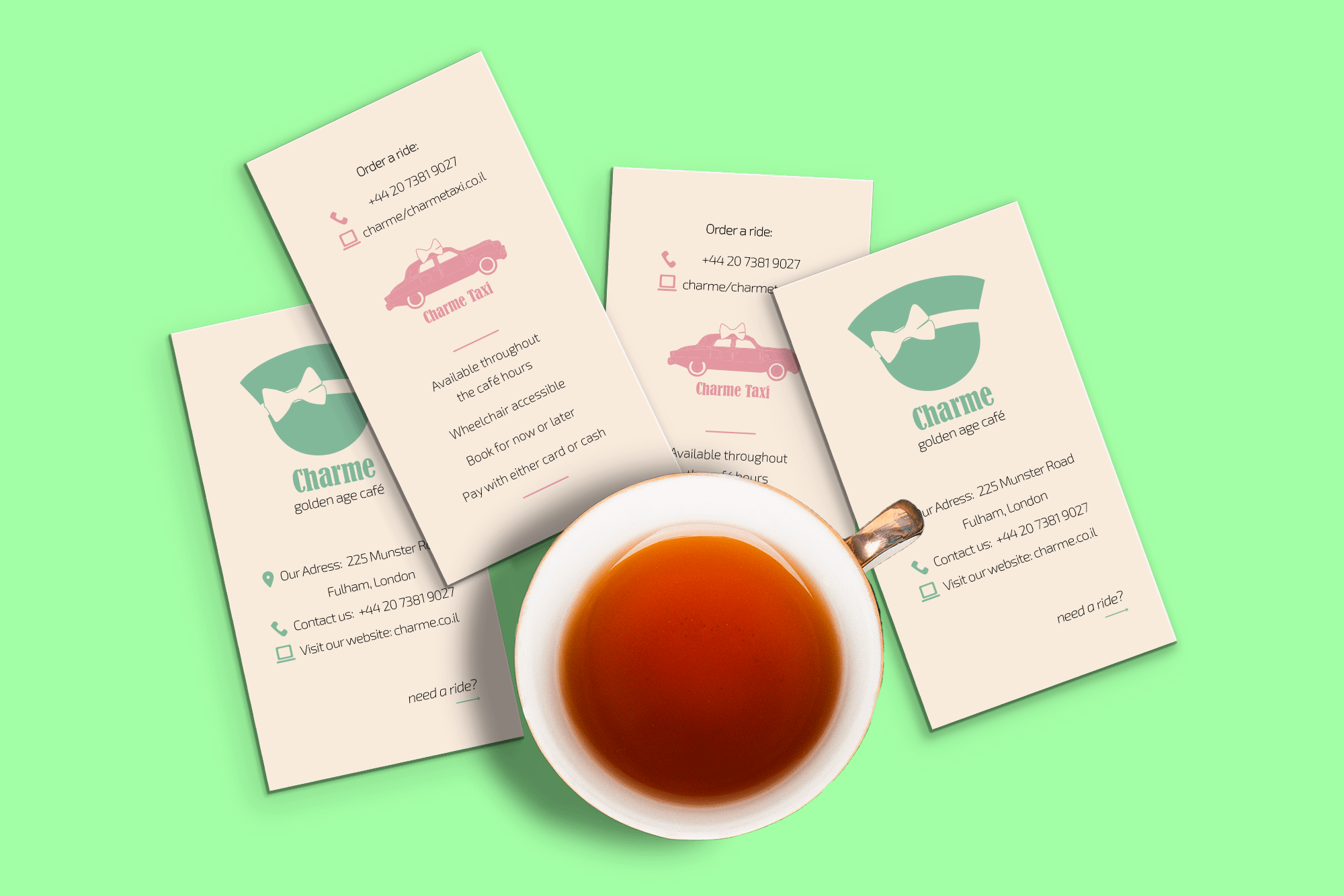עיצוב בחינוך עיצוב גרפי CHARME מיתוג בית קפה תיק עבודות קטיה פובזנר
