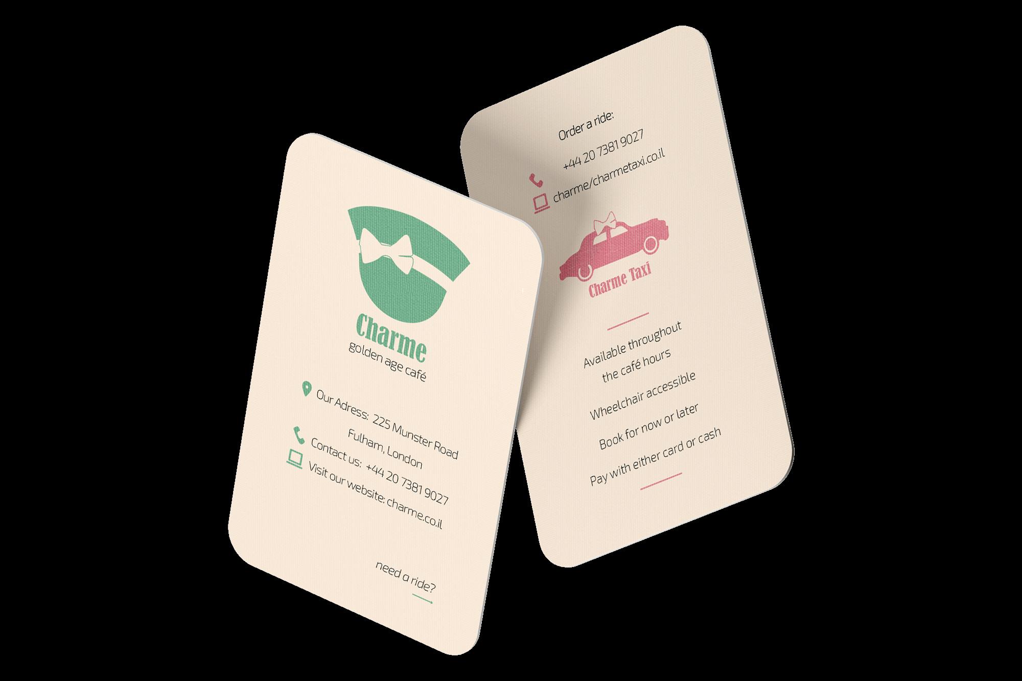 עיצוב בחינוך עיצוב גרפי CHARME מיתוג בית קפה כרטיס ביקור תיק עבודות קטיה פובזנר