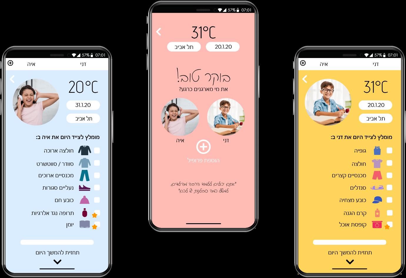 עיצוב בחינוך עיצוב גרפי אפליקציית מזג אוויר להורים UX UI הדמיה תיק עבודות קטיה פובזנר
